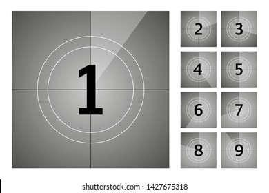 Vintage retro cinema. Countdown frame. Art design. Old film movie timer count. Vector stock illustration.
