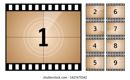 Vintage retro cinema. Countdown frame. Art design. Old film movie timer count. Vector stock illustration.