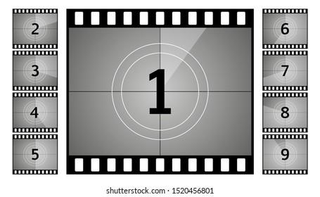 Vintage retro cinema. Countdown frame. Art design. Old film movie timer count. Vector illustration.