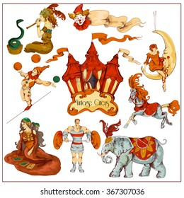 Vintage Retro Circus Set in a Sketch Hand-drawn Style Vividly Colored Isolated on White.EPS