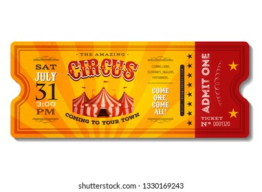 Vintage Retro Circus Ticket/ Illustration of a vintage and retro design circus ticket, with big top, admit one coupon mention, bar code and text elements for arts festival and events
