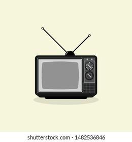 Vintage Retro Classic Television Vector Cartoon with antenna
