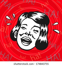 Vintage Retro Clipart: woman having fun and laughing