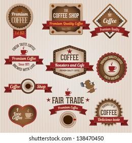 Vintage retro coffee labels and badges set