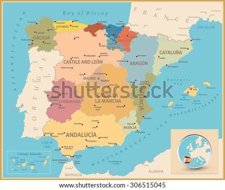 Map Of Spain To Color.Vintage Retro Color Map Spain Administrative Stock Vector Royalty