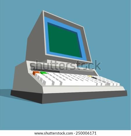 Vintage Retro Computer Vector Stock Vector (Royalty Free) 250006171