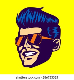 Vintage retro cool dude man face head wearing aviator sunglasses rockabilly pompadour haircut vector