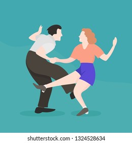 Vintage Retro Couple Dancing Mid-Century Rockabilly Boogie Woogie Swing Stile. Man and Woman. Flat Vector Character Cartoon Happy Rock'n'Roll Dance.
