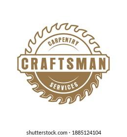 Vintage retro craftsman carpentry logo Premium Vector