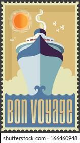 Vintage retro cruise ship - vector design - Holiday travel poster illustration