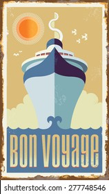 Vintage retro cruise ship - vector design - Holiday travel poster illustration