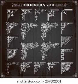 Vintage Retro Design Elements Corners And Borders Set 3 Vector