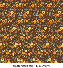 Vintage Retro Ditsy Daisy and Foliage Seamless Repeat Wallpaper Tile - Retro 60's/70's Inspired Palette - Seventies - Hippie Brown, Orange, Green and Yellow - Dark Background