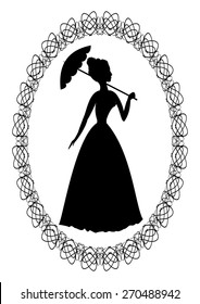 Vintage retro drawing with silhouette of rococo lady with umbrella in fine oval lace frame. Decoration for ball invitation or greeting.