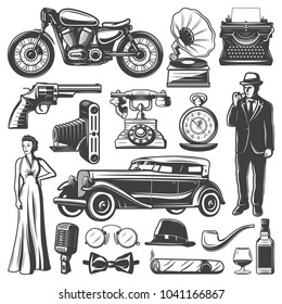 Vintage retro elements set with gentleman woman pistol camera automobile motorcycle gramophone typewriter watches phone microphone hat cigaro whiskey isolated vector illustration