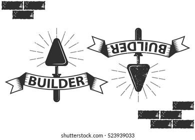 Vintage, retro emblem.  build, trowel for laying bricks