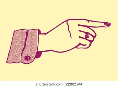 Vintage retro female hand with pointing finger and varnished fingernails