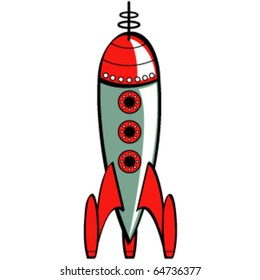 Vintage or retro fifties sci fi style rocket or spaceship.