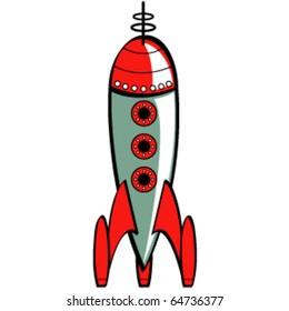 Vintage or retro fifties sci fi style rocket or spaceship.