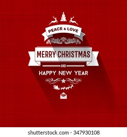 Vintage retro flat style trendy Merry Christmas card and New Year wish greeting. Vector illustration with pale yellow inscription on red background for flyer, wallpaper, magazine, wallpaper, booklets