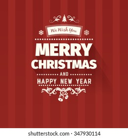 vintage retro flat style trendy merry christmas card and new year wish greeting vector illustration