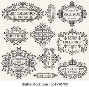 Vintage retro frames, ornate decorative elements, calligraphic ornaments. Flourishes patterns with swirls and scrolls for wedding invitations, page decor, banners, cards, certificates, diplomas, menu