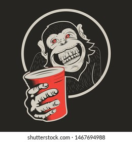 vintage retro funny smiling monkey offering a drink