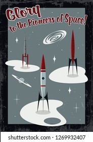 Vintage Retro Future Space Propaganda Poster Mid Century 1960s Stylization Rocket Launch Pad and Grunge Effect