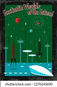 Vintage Retro Future Space Propaganda Poster Mid Century 1960s Stylization Space Rockets, Fantastic Buildings and Grunge Effect