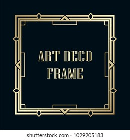 Vintage retro golden frame in Art Deco style. Template for design