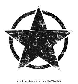 Vintage retro grunge black star in circle on white background, vector illustration