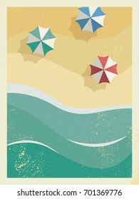 Vintage retro grunge edges summer holiday or party poster or postcard template with sunny sandy beach, sea with waves and umbrellas. Eps10 vector illustration.
