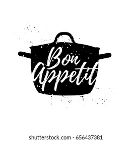 Vintage retro handmade badges, labels and poster element, retro symbols for kitchenware shop, cooking club, cafe or home cooking. Template logo with silhouette of a pot. Bon appetit graphic. Vector