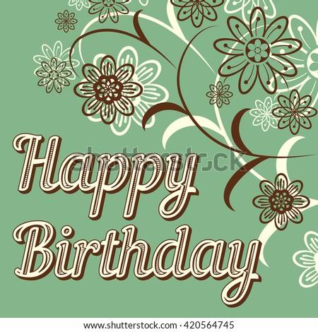 Vintage Retro Happy Birthday Card Fonts Stock Vector Royalty Free