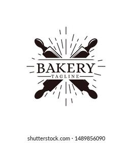 Vintage retro hipster label emblem logo of bakery food