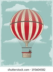 Vintage retro Hot Air Balloon. Textured vector design background.