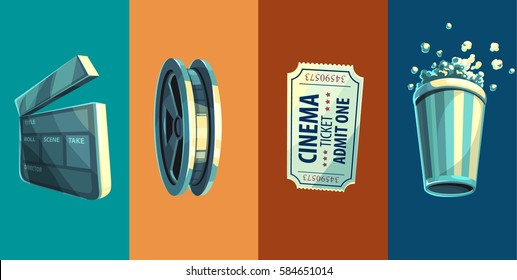 Vintage retro icons of cinema objects clapperboard disc with film-strip ticket in movie theater and popcorn vector illustration.