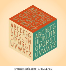 Vintage retro isometric hand draw vector full alphabet set. The vector Roman alphabet.