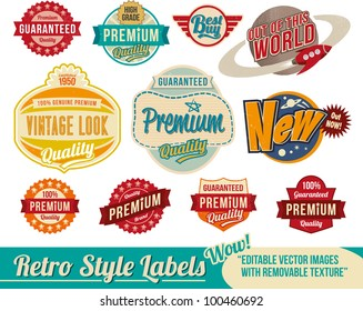 Vintage retro labels and tags - editable vector images with removable texture