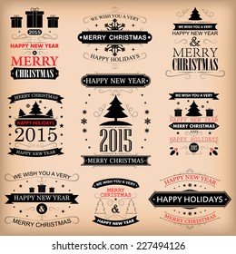 Vintage retro labels vector illustration for holiday design, party poster, greeting card, banner or invitation