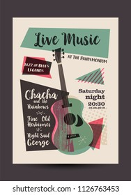 Vintage or retro live music poster design, mid-century modern, guitar and text, eps10 vector