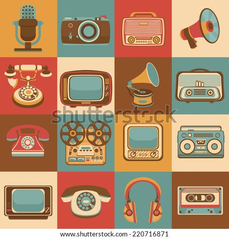 Vintage retro media gadgets icons set of radio microphone camera isolated vector illustration