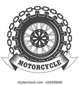 Vintage retro motorcycle logo emblem isolated on white background. Vector illustration.