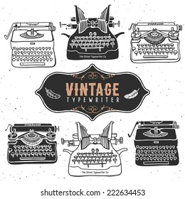 Vintage retro old typewriter collection. Hand drawn vector illustrations. Vol.1