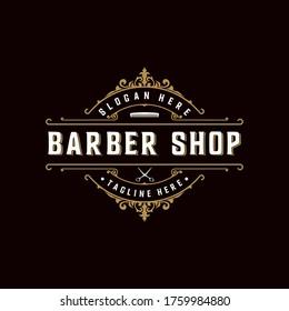 Vintage retro ornament logo. barber shop