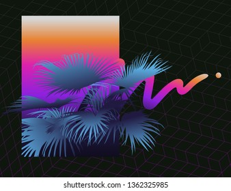 Vintage - retro palm tree retrowave / 80s inspired elements background template