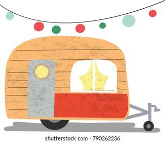 Vintage retro Pattern cute adorable caravan camper van,pastel vector background,illustration freehand draw doodle cartoon comic style,for invitation card