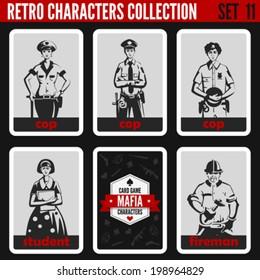 Vintage retro people collection. Mafia noir style. Cops, Student, Fireman.   Professions silhouettes.