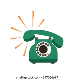 Vintage retro phone in a cartoon style flat. icon. Vector illustration