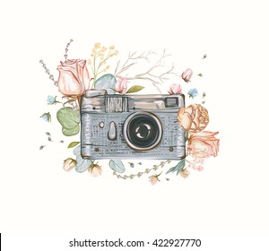 Vintage retro photo camera in flowers, leaves, branches on white background. Watercolor design, Flat style. Hand drawn Vector illustration, separated elements in collage.